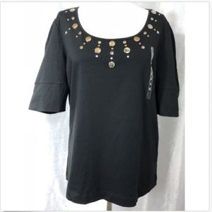 Nine West NWT XL Knit Blouse Black Silver Studded